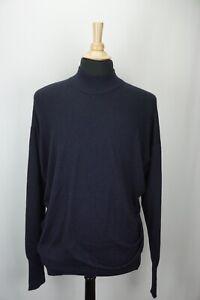 Drakes Navy Blue Cashmere Silk Blend Longsleeve Mens Sweater Sz XL England