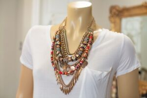 Tribal Ethnic Brass Fabric Beaded Layered Necklace - Bold
