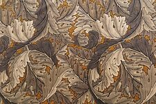 "WILLIAM MORRIS CURTAIN FABRIC DESIGN ""Acanthus Velvet"" 2.4 METRES MUSTARD & GREY"