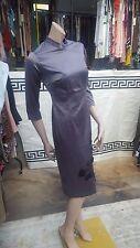 BNWT Chinese style lovely satin stylish dress metallic Grey with beads SZ 38