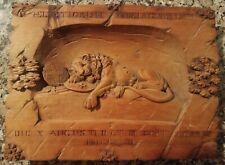 Antique/Vintage Swiss Hand Carved Wood Lion of Lucerne Monument Sculpture • NR
