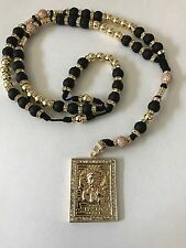 Jesus Malverde Rosary Gold Filled with Black Matt Beads Hand Made Great Quality