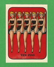 "VINTAGE ORIGINAL 1948 SOUVENIR ""TEN PINS"" SEXY CAN-CAN GIRLS PINUP WATER DECAL"