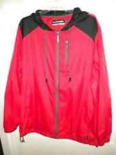 Men's Red Hooded Windbreaker Jacket Hoodie Buddie Size XXL New