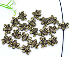 50 BEAUTIFUL HIGH QUALITY ANTIQUE GOLD METAL BEE BEADS 14MM X 12MM