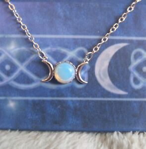 Opalite crystal triple moon necklace Wiccan pagan witch