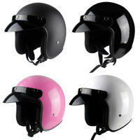 Vintage Motorcycle Helmet Open Face Half 3/4 Cruiser Scooter Motorbike Helmet