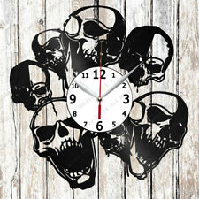 Skull Vinyl Wall Clock Made of Vinyl Record Original gift 2583