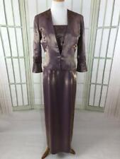 Alex Evenings Mother of Bride Shimmering Purple Gold Satin Dress & Jacket Sz 10