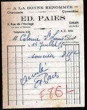 """DINAN (22) CHARCUTERIE / A LA BONNE RENOMMEE """"Ed. PAIES"""" en 1956"""