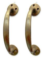 "2 PULLS ""D"" handle 15 cm agedheavy 100% SOLID BRASS old style door 6"" polished B"