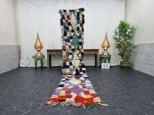 Moroccan Handmade Vintage Runner Rug 2'x11' Berber Geometric Multicolor  Carpet