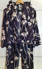 ZARA Floral Botanical Two-Piece Flowy Jacket Trousers Suit Blue Sz XS
