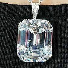 100ct White Emerald Cut Pendant Bail Solid 925 sterling silver jewelry Best Gift