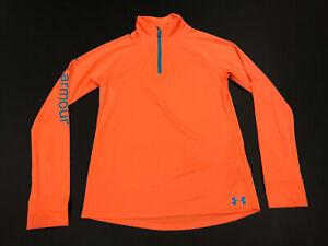 Under Armour Youth Athletic Sports Yoga Shirt Zip Long Sleeve Large Orange