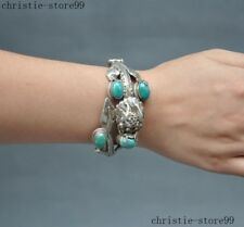 """3""""Collect Tibet silver Inlay Turquoise Dragon statue Exorcism bracelet bracelets"""
