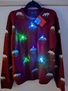 Men's Light Up LED Christmas Jumper - UK Size Medium - Xmas Pudding - BNWT