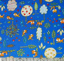 Free Spirit Fox Playground Woodland Animals Navy Fabric