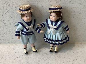 Dolls house miniature 1:12 ARTISAN Victorian porcelain boy + girl dolls
