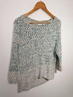 Fat Face Size M/L Blue Peacock Blue & White 3/4 Sleeve Jumper Cotton Open Knit