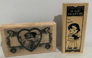 Vintage VALENTINES DAY Little Girl Cherubs Love Hearts Wood Rubber Stamps Lot