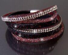 Bracelet Slake Wrap-around Jewellery Women's Glitter Rhinestone Wine Red A837