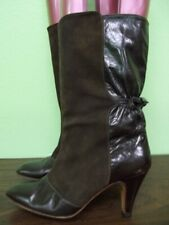 Vintage 80s Brown Leather & Suede Mid Calf Boots 6