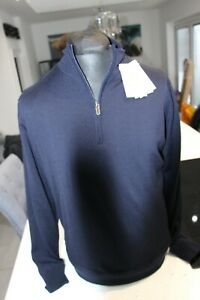 Proquip Merino Wool Lined Half Zip Golf Sweater Navy Large