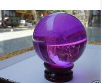 40mm+Stand Beautiful Asian Quartz Purple Magic Crystal Healing Ball Sphere***