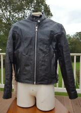 Vintage SPEED GEAR Drag Racing Blk Leather Motorcycle Padded Jacket Large Italy
