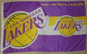 Official NBA Los Angeles LA Lakers Team Badge Flag with 2 Eyelets 5' x 3' Approx