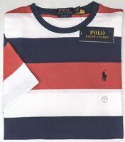 Polo Ralph Lauren Short Sleeve T Shirt Red Navy White Stripe Tee Classic NEW $49