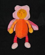 Peluche doudou louna abeille fleur MOULIN ROTY orange rose jaune 20 cm TTBE