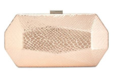 Inc NWT $59 Clutch Rose Gold Hard Shell Silver Trim Removable Chain Strap Snap