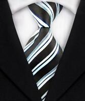 Tie Necktie Blue White Black Striped Classic 100% Silk Men's Ties Neckties