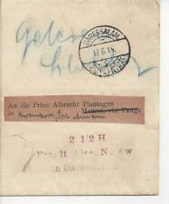 1915 German East Africa Dar-Es-Salaam Wrapper Cover to Kwamkoro Tanganyika
