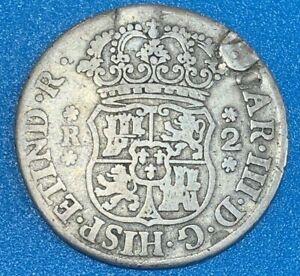 1769 Bolivia 2 Reales Carlos III 0.917 Silver Coin