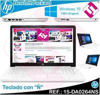 """PORTATIL BLANCO HP 15-DA0264N INTEL N4000 15.6"""" W10 4GB 256GB SSD TELETRABAJO"""