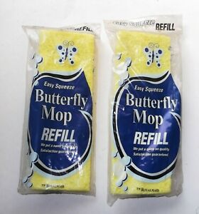 """2 Sponge Mop REFILL Vintage Yellow Cellulose Squeeze Butterfly Pad 9.25""""x 3"""""""
