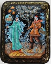 Russian Lacquered Box Hand Painted Artist Signed Winter Snow Blizzard NEW