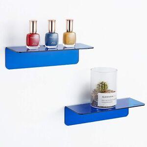 Acrylic Floating Wall Shelves, Translucent Blue, Set of 2