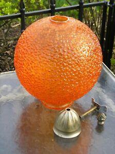 "Beautiful Mid Century Modern Orange Round Glass Crackle Lamp Shade 10 1/2"" tall"