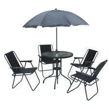 Patio Dining Set 4 Seater Outdoor Garden Chairs Umbrella GLass Table Top 6 Pcs