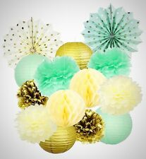 Mint Cream Gold Birthday Decoration Gold Polka Dot Paper Fan Tissue Paper Pom