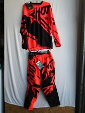 SHOT race gear RACEWAY combo motocross men's pants 28,jersey LARGE neon orange