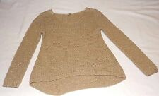 "OASIS S CHEST 36"" 91cm BEIGE & SHINY GOLD KNITTED STUNNING HEMTEE STYLE JUMPER"