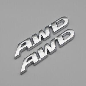 2x Chrome Side Fender AWD Off-Road Emblem Metal All Wheel Drive Rear Trunk Badge