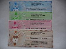 serie 4 buoni d'acquisto 100,200,300,400 lire rosticceria righi 1976