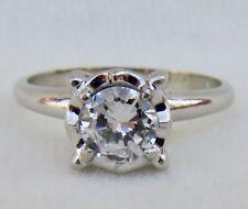 VINTAGE .55 CT. BRILLIANT CUT DIAMOND SOLITAIRE ENGAGEMENT  RING~14K WHITE GOLD