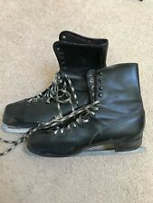 Vintage Black Leather Mens Ice Skates Sz.12 - Blades say made in Canada
